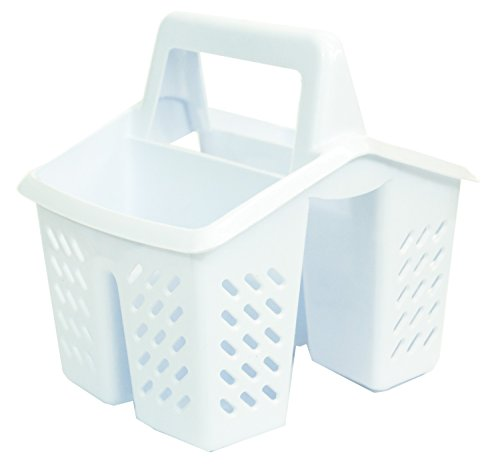 Excellent Houseware White 4 Compartment Plastic Sink Tidy Filter Cutlery Drainer Caddy with Handle