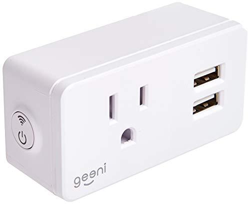 Geeni Switch + Charge Smart Wi-Fi Plug with 2 USB Ports, No Hub Required,  Works with Amazon Alexa, Google Assistant & Microsoft Cortana, White