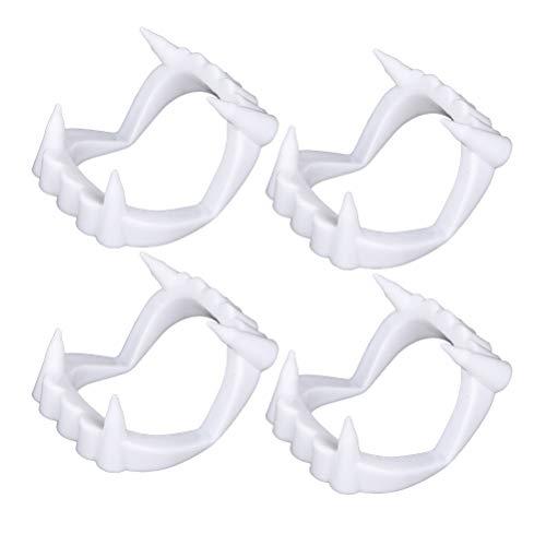 Toyvian 4 stücke weiß vampirzähne falsche zähne Vampir prothese für Halloween Dekoration Zombie Cosplay Halloween Cosplay Requisiten gastgeschenke kostüm zubehör (weiß)