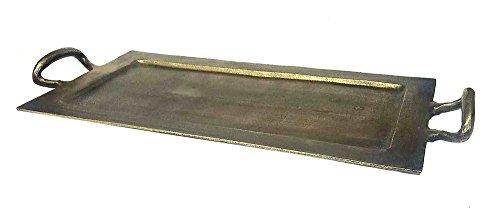 ZUCCOR tarl Serviertablett in Antik Bronze Finish, groß, 61x 29,2x 7,6cm Aluminium, gold