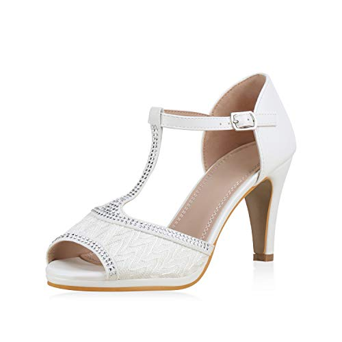 SCARPE VITA Damen Pumps Sandaletten Riemchensandaletten Schuhe Stiletto High Heels Elegante Abendschuhe Party Absatzschuhe 183235 Weiss Strass 39