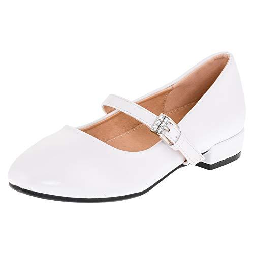 Dorémi Festliche Mädchen Ballerinas Schuhe mit Schnalle für Hochzeit Kommunion Feier M480ws Weiß 30 EU (Kommunion Schuhe Mädchen)