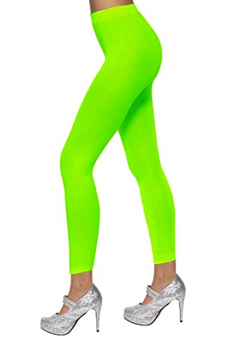 Neon Green Footless Tights.  Also available in red and white, these tights are ideal for creating a dance/aerobics costume.