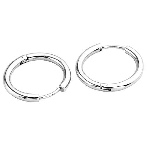 JSDDE Piercing Schmuck,2x Chirurgenstahl Creolen Ohrringe Hoop Ring Huggie Kreolen Ohrringe 8-16mm Silber (16mm) (Piercing Ohrringe 1mm)