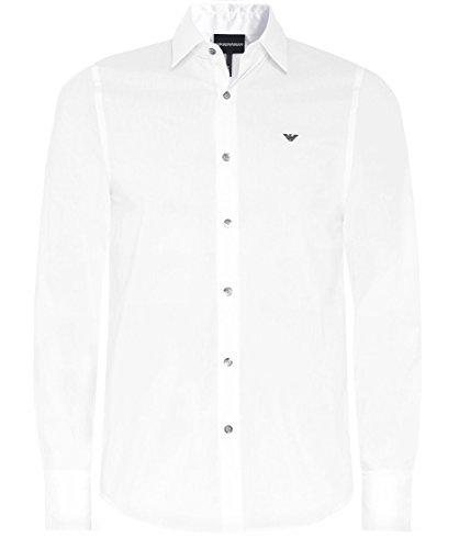Emporio Armani Herren Trim Hemd Slim Fit Kontrast L (UK 40) Optik Weiß