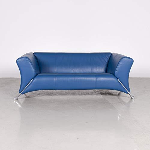 Rolf Benz 322 Designer Leder Sofa Blau Zweisitzer Couch Echtleder #7170