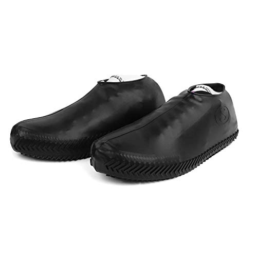 Aibrou Regen Überschuhe, Wiederverwendbare Silikon Schuhe Cover Wasserdicht Faltbare Radfahren Outdoor Überschuhe für Kinder Damen Herren Schwarz L