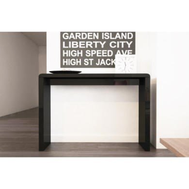 Black High Gloss Narrow Hall Console Table Modern Design