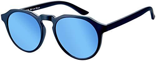 La Optica B.L.M. UV400 CAT 3 Unisex Damen Herren Sonnenbrille Rund Round - Einzelpack Matt Schwarz (Gläser: Hellblau verspiegelt)
