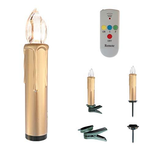Kabellose LED Christbaumkerzen mit Fernbedienung und Timer in Gold - OUTDOOR geeignet - Weihnachtsbaumbeleuchtung (20er Set Gold)