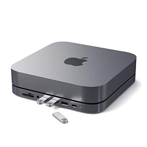 SATECHI USB-C Aluminium-Ständer & Hub - Kompatibel mit Mac Mini (2018 & später) - USB-C- Data Port, MicroSD/SD-Kartenleser, USB 3.0 & Kopfhöreranschluss