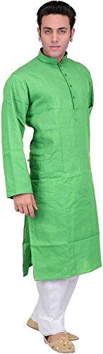 Exotic India Solid Plain Kurta Pyjama Set - Color Green FlashGarment Size...