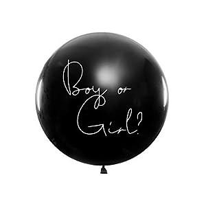DaLoKu XXL Riesen Luftballon Ø 1m Gender Baby Boy or Girl inkl. Konfetti in pink oder blau Dekoration Babyparty Babyshower, Farbe: Boy or Girl - Konfetti blau