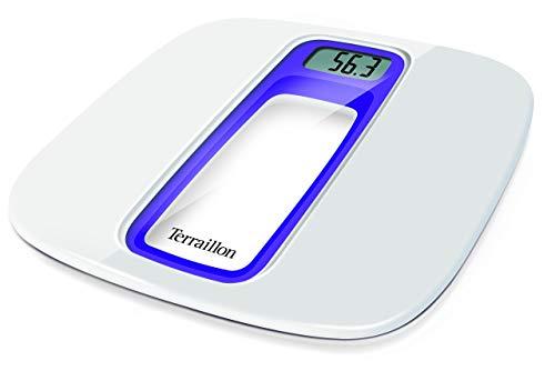 Terraillon Elektronische Personenwaage, Automatisches Ein- und Ausschalten, Große LCD-Anzeige, 160kg, Window, Weiß/Violett -