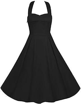 LUOUSE Damen 'Audrey Hepburn' Polka Dots Druck Holder Weinlese- Rockabilly Swing Abend Hochzeit Abschlussballkleid