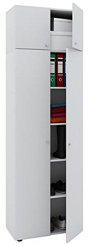 VCM Schrank Universal Kleiderschrank Mehrzweckschrank Dielenschrank Weiß 218 x 70 x 40 cm