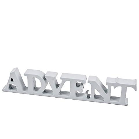 Schriftzug Advent Kunststoff 5x28x2cm grau Dekoration Weihnachten (Festliche Zitate Für Weihnachten)