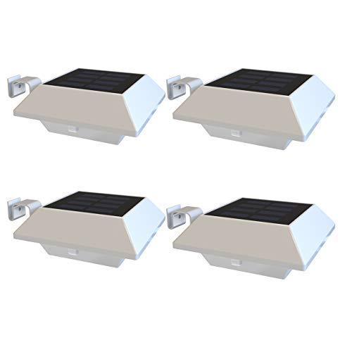 Solar Dachrinnenleuchten IP65 Wasserdichte Solarbetriebene LED Aussenlampe Solarlampen für Garten Wand Flur Treppen Hof Einfahrt Gehwegen (Warmweiß Licht - Weiße Schale, 4 Stck. - 6 LED Solarleuchten)