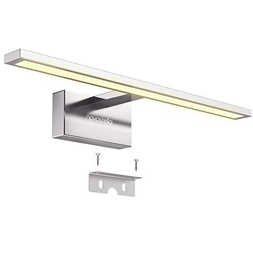 Novostella 10W Luce Specchio Bagno, 800LM LED Alluminio Illuminazione Bagno, Bianco Caldo 3000K, Impermeabile IP44, Applique Faretto Specchio Arredo Bagno 400x125x60 mm