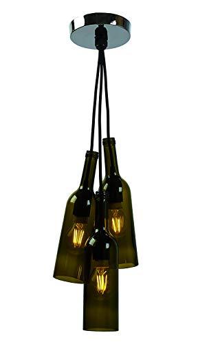"Lámpara Colgante con tres botellas de vidrio. Portalámparas de silicona E27 máx. 40W. Cable ""cordón"" de 1 m forrado, con florón de metal."