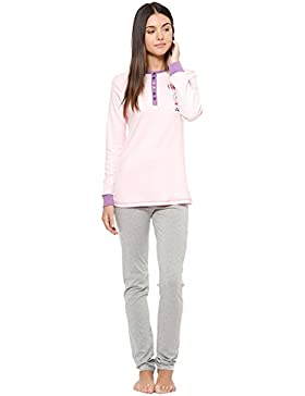 LCW00117 Pigiama donna Lee Cooper mod. Love Pink caldo cotone manica lunga. MEDIA WAVE store ®