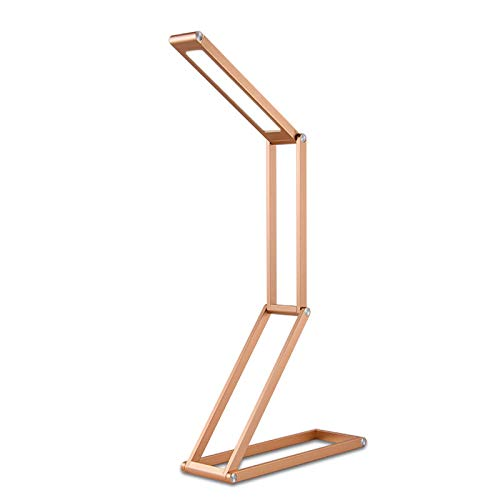 WMC 3W LED Schreibtischlampe Schreibtischleuchte, tragbare 4-Segment-LED-Multifunktionsleuchte zum Falten, zum Lesen, Studieren und Arbeiten,Gold