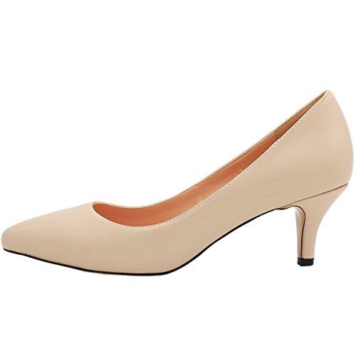 MERUMOTE Damen Spitze Middle Heels Pumps Apricot-Matt