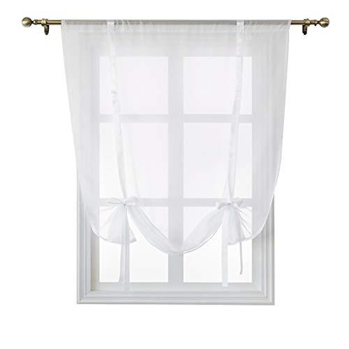 CCSUN Binden Sie Fassadenelement, Schiere Voile Vorhänge Binden Kurze Vorhang Volant Für Kleines Fenster Küche Liftbaren Drapieren-weiß 60x120cm(24x47inch)