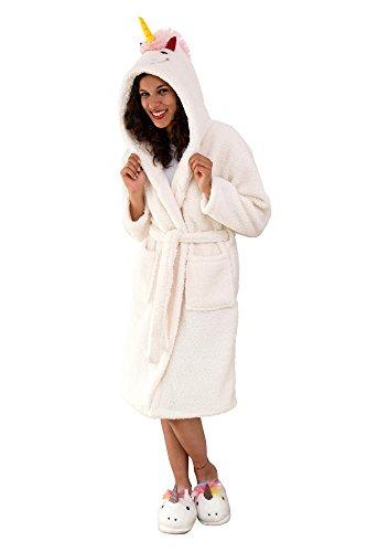 Einhorn Bademantel für Erwachsene aus Fleece mit Kapuze, Gürtel und Schweif - Unicorn Design - Close Up®