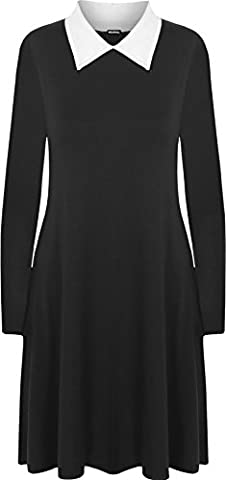 WearAll - Grande Taille Collier plaine manches longues Robe trapèze - Femmes - Robe - Noir Blanc - 44-46