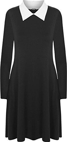 WearAll - Übergröße Kragen Langarm Plain-Schwingen-Kleid - Schwarz Weiß - - Wednesday Addams Kostüm