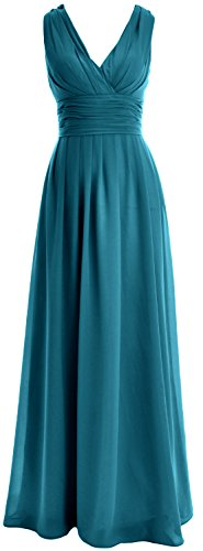 MACloth Women V neck Chiffon Long Bridesmaid Dress Wedding Party Formal Gown Teal