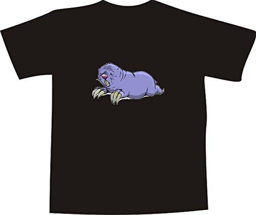 T-Shirt E930 Schönes T-Shirt mit farbigem Brustaufdruck - Logo / Grafik - Comic Design - dicker kleiner Maulwurf im Garten Mehrfarbig