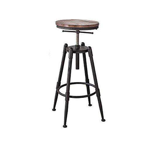 Silla de bar elevador taburete de madera maciza café giratorio taburetes altos casa barra silla cocina taburete de desayuno altura ajustable con 4 patas de hierro cojín de madera maciza sin respaldo