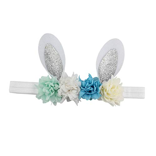 F Fityle Neugeborene Baby Oster Hasenohren Stirnband Haarreif Haarband Kopfschmuck Blumenmädchen Haarschmuck Haar Accessiories - C