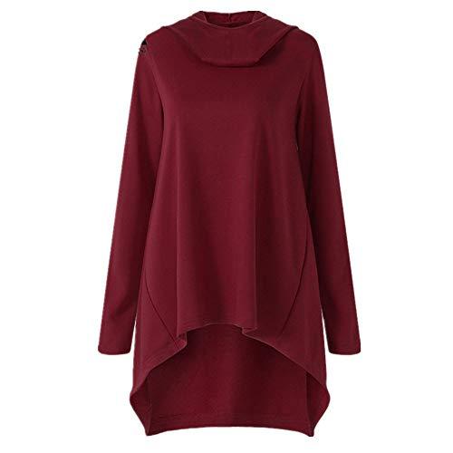 FeiBeauty Women's Solid Color Langarm-Diagonal-Reißverschluss Mode mit Kapuze Pullover Herbst und Winter Kapuzen-Sweatshirt Mode-Shirt Damenjacke