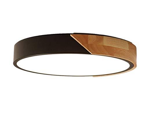 LED Deckenleuchte, 24 W LED Metall, Holz, Acryl Flache Runde Leuchte Deckenlampe Wohnzimmer Lighting Lampe,H x D: 5 x 30 cm (Schwarz) (Bücher Trade-in-programm)
