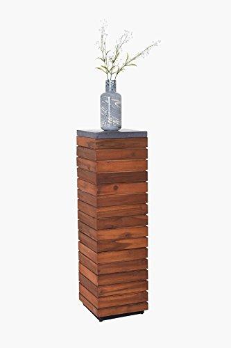 Podest Säule Blumensäule Dekosäule Blumenständer Holz Akazie mit Fiberzementplatte 100 cm hoch, Braun / Grau