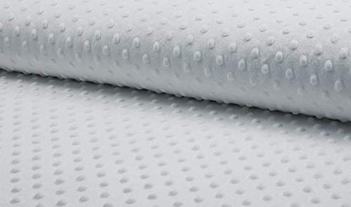 Supersoft Dimple DOT Cuddle - Felpa de forro polar suave para mantas, 150 cm de ancho (se vende por metros) blanco blanco