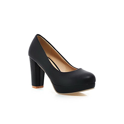 BalaMasa e punta arrotondata, da donna, a tacco alto, materiale morbido pompe-Shoes Black