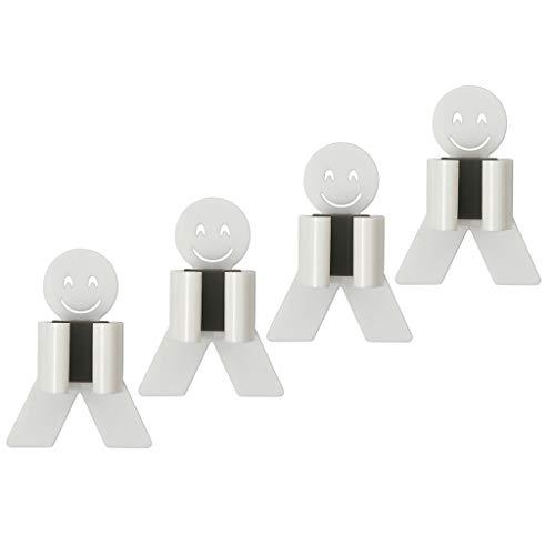 Besen Halter, Mopp-Halter Smiley Mopphalter, aus Edelstahl, mit Kleber, für Wandmontage, für Badezimmer, Lagerräume 4er-Set (Weiß)