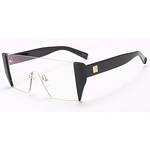 YMTP Quadratische Halbe Rahmengläser Männer Schwarze Flache Obere Einteilige Linse Transparente Brille Rahmen Frauen, Schwarz Mit Klar