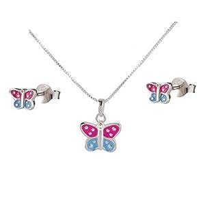 FIVE-D Set Anhänger Kinderohrringe mit Kette bunter Schmetterling 925 Silber im Geschenketui Kettenlänge 36 cm