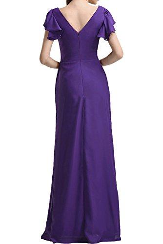 Ivydressing Glamour Violett Neu V-Neck Chiffon 2017 Promkleider Ballkleider Kurzarm Abendkleider Lang Inkblau