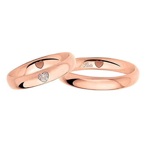 Fedi Polello In Oro Rosa 18 Kt 750/1000 Con Diamanti A Forma Di Cuore 2977 Dr-ur, 30