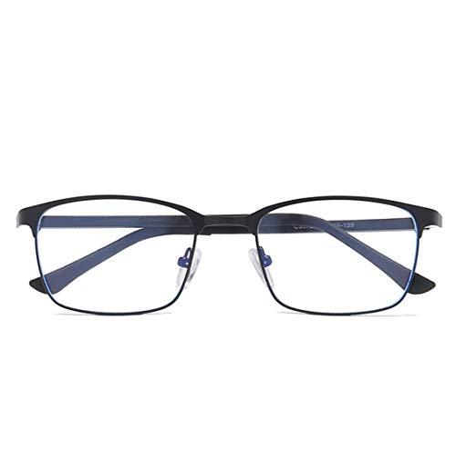 Limeinimukete Retro-quadratische Geschäftsgläser der blauen Lichtbrille gestalten Metallglas für Frauenmänner (Color : Black)