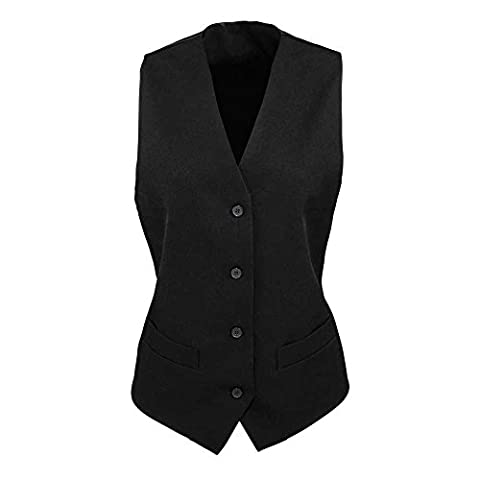 Premier Ladies Lined Polyester Button Waistcoat Black Sizes XS,S,M,L,XL,XXL