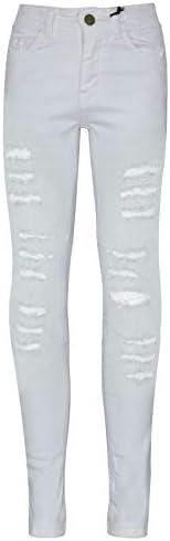 A2Z 4 Kids Bambini Ragazze Skinny Jeans Bianco Progettista Denim Ripped Moda Elastico Jeggings Pantaloni alla