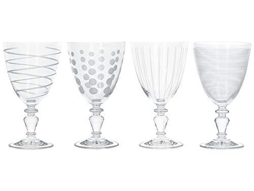 Mikasa C000210 Weinkelch-Set'Cheers', Glaskristall, silberfarben, 4 Stück