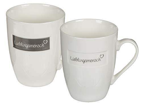 MC Trend 2er Set New Bone China-Becher Lieblingsmensch Tasse Kaffee Tee Frühstück Partner (China Becher grau&weiß)
